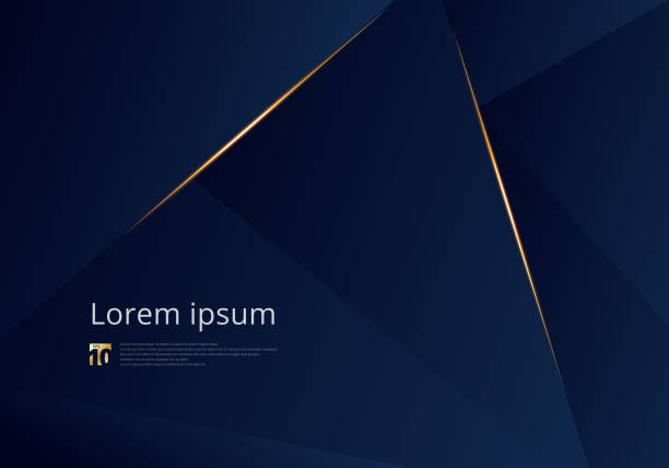 Abstract template dark blue luxury premium background with luxury triangles pattern and gold lighting lines. Abstract template dark blue luxury premium background with luxury triangles pattern and gold lighting lines. Vector illustration invitations templates stock illustrations