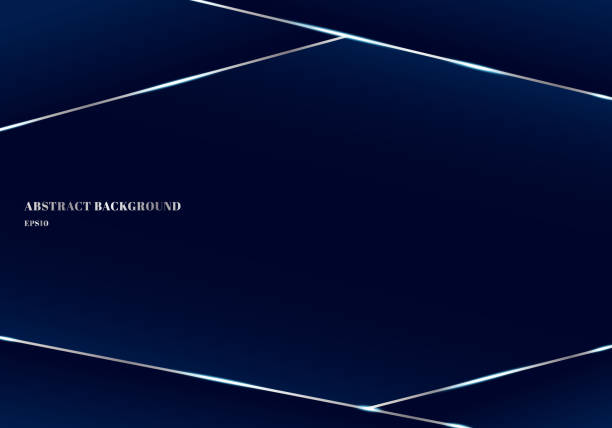 Abstract template geometric triangle and silver lines dark blue premium background. Low poly shapes and luxury style. You can use for brochure, poster, leaftlet, banner web, presentation, book, annual report, etc. Abstract template geometric triangle and silver lines dark blue premium background. Low poly shapes and luxury style. You can use for brochure, poster, leaftlet, banner web, presentation, book, annual report, etc. Vector illustration blue borders stock illustrations