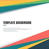Abstract template header and footers colorful geometric triangles design with halftone on white background  and copy space. Decorative website layout or poster, banner, brochure, print, ad. Vector illustration