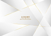 Abstract template white and gray color luxury background design. Geometric triangles with golden lines. Vector illustration