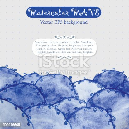 605740894 istock photo Abstract template with blue watercolor waves 505916605