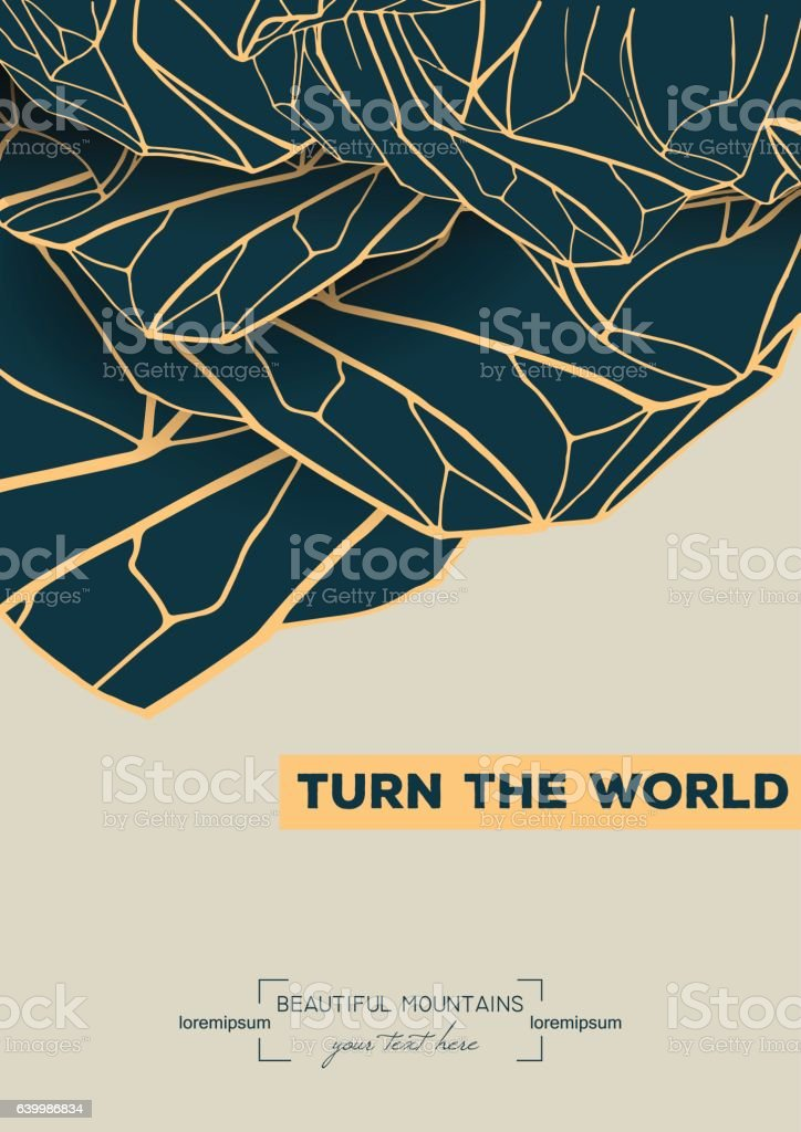 abstract template with hand drawn inverted mountains vector art illustration