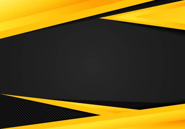 추상 템플릿 노란색 기하학적 삼각형 대비 검정색 배경입니다. 회사 디자인, 커버 브로셔, 서적, 배너 웹, 광고, 포스터, 전단지 및 전단에 사용할 수 있습니다. - 노랑 stock illustrations