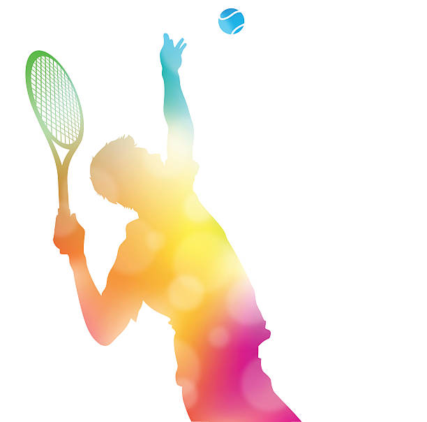 Abstract Tennis Player Serving in Beautiful Summer Haze. vector art illustration