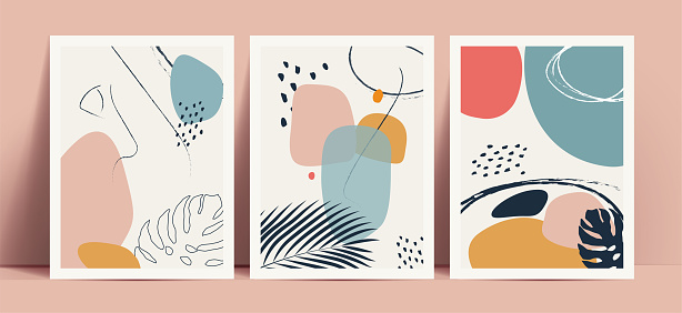 Abstract terrazzo style background set with pastel color hand drawn geometric shapes and lines and tropical leaves silhouettes. Works for decor wall prints or book cover or flyer or menu design. Vector illustration