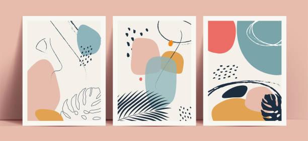 illustrations, cliparts, dessins animés et icônes de fond abstrait de style terrazzo avec des formes géométriques et des lignes dessinées à la main de couleur pastel et des silhouettes de feuilles tropicales. fonctionne pour les impressions murales de décor ou la couverture de livre ou le flyer ou la co - art