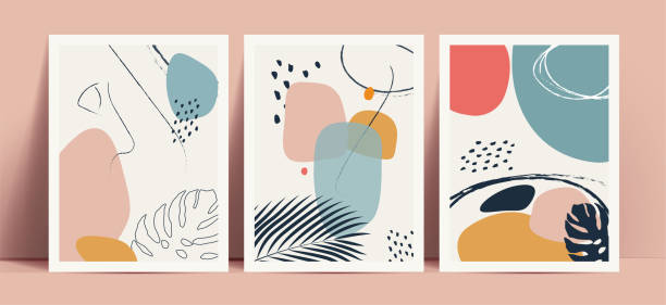 ilustrações de stock, clip art, desenhos animados e ícones de abstract terrazzo style background set with pastel color hand drawn geometric shapes and lines and tropical leaves silhouettes. works for decor wall prints or book cover or flyer or menu design. - arte