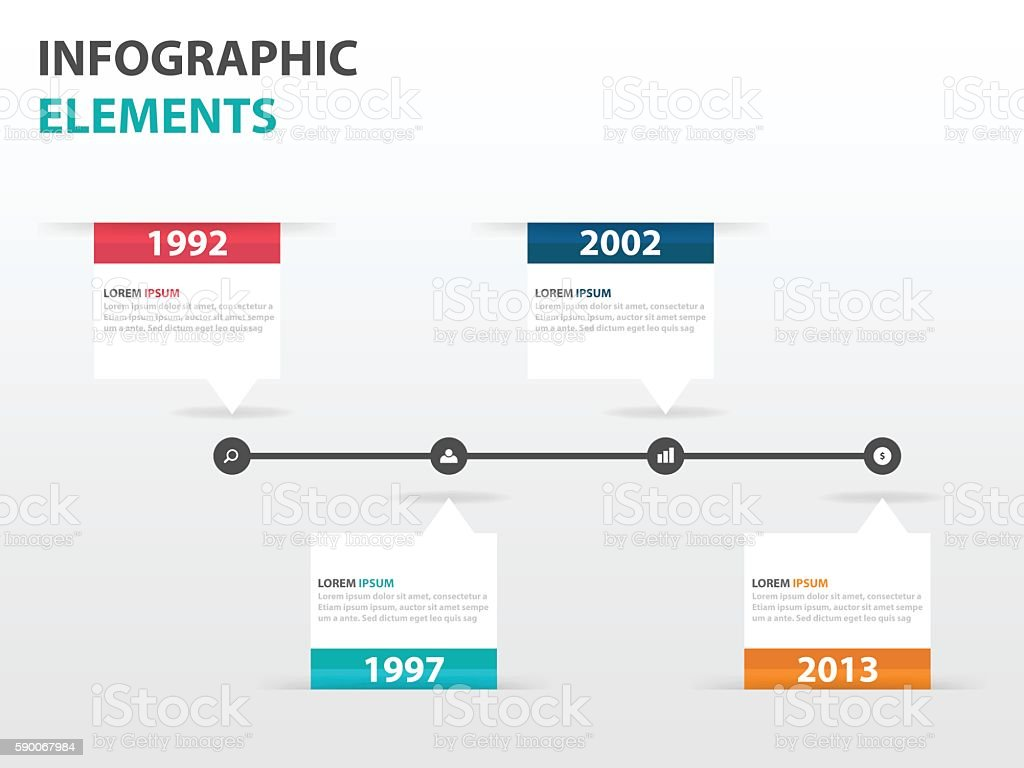 Business Timeline Template | Abstract Text Box Business Timeline Infographics Elements