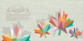 abstract textured fall background with vintage badge and colored leaf