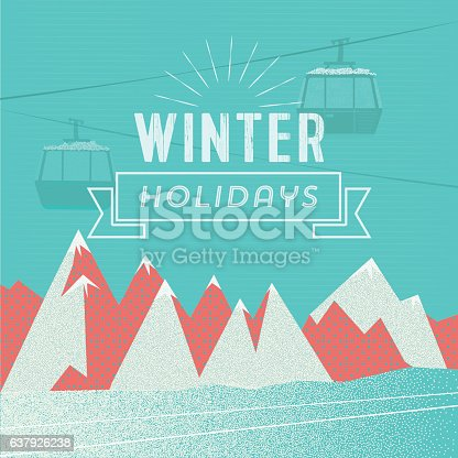 abstract textured winter mountain landscape with ski lift and winter holiday text