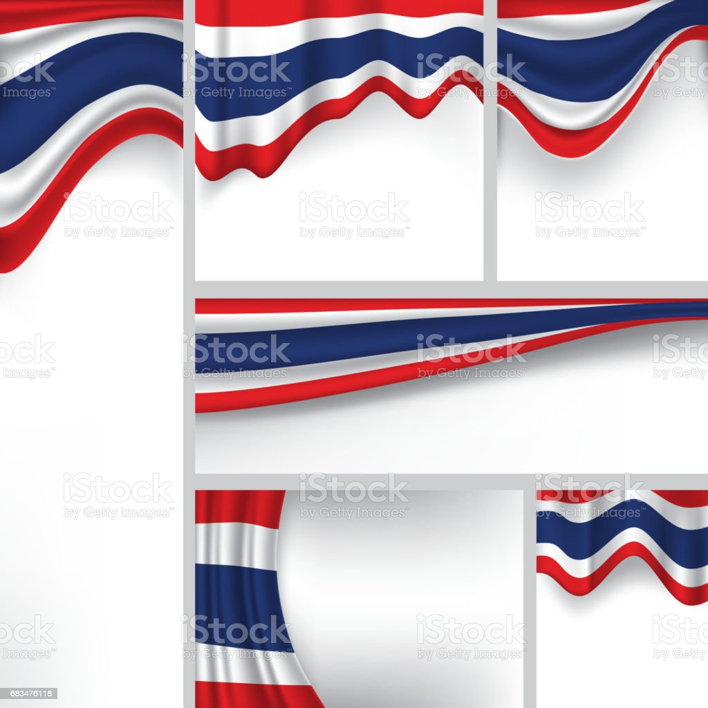 Abstract Thailand Flag, Thai Colors (Vector Art) ベクターアートイラスト