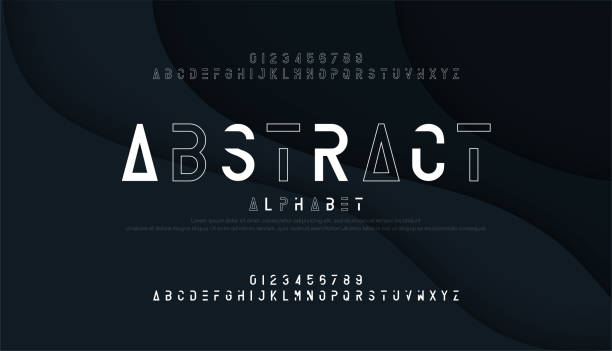 Abstract thin line font minimal alphabet. modern fonts and numbers. Typography urban typeface uppercase and number. vector illustrationint Abstract thin line font minimal alphabet. modern fonts and numbers. Typography urban typeface uppercase and number. vector illustration alphabet designs stock illustrations