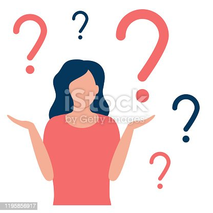 Thoughtful and doubting woman with question mark. Girl solves problem, chooses solution. The concept of doubt, ignorance, confusion, deadlock. I do not know. Vector flat design illustration