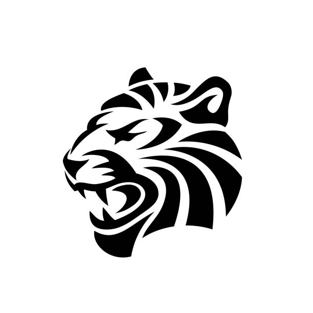 Abstract tiger tattoo - vector illustration Abstract tiger tattoo tiger stock illustrations
