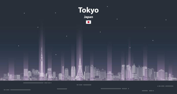 abstract Tokyo cityscape line art style vector abstract illustration. Travel background abstract Tokyo cityscape line art style vector abstract illustration. Travel background tokyo stock illustrations