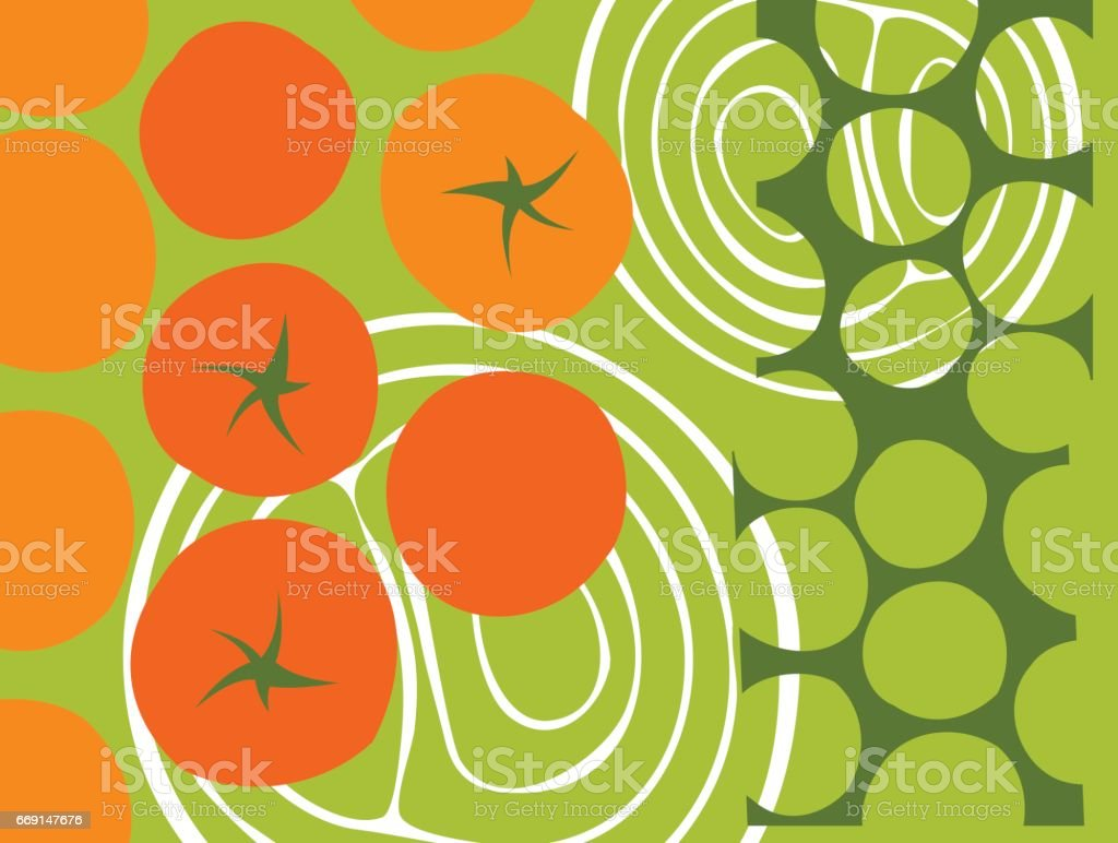 abstrakte Tomaten und Zwiebelringen Vektor-illustration – Vektorgrafik