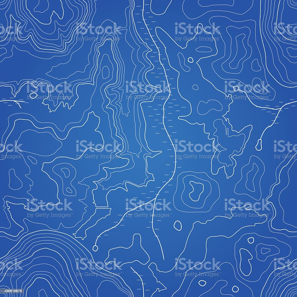 Abstract Topographic Map - Seamless Pattern vector art illustration