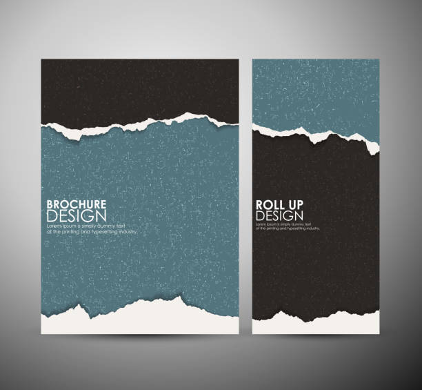 bildbanksillustrationer, clip art samt tecknat material och ikoner med abstract torn paper brochure business design template or roll up. - rivet papper