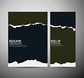 Abstract Torn paper brochure business design template or roll up.