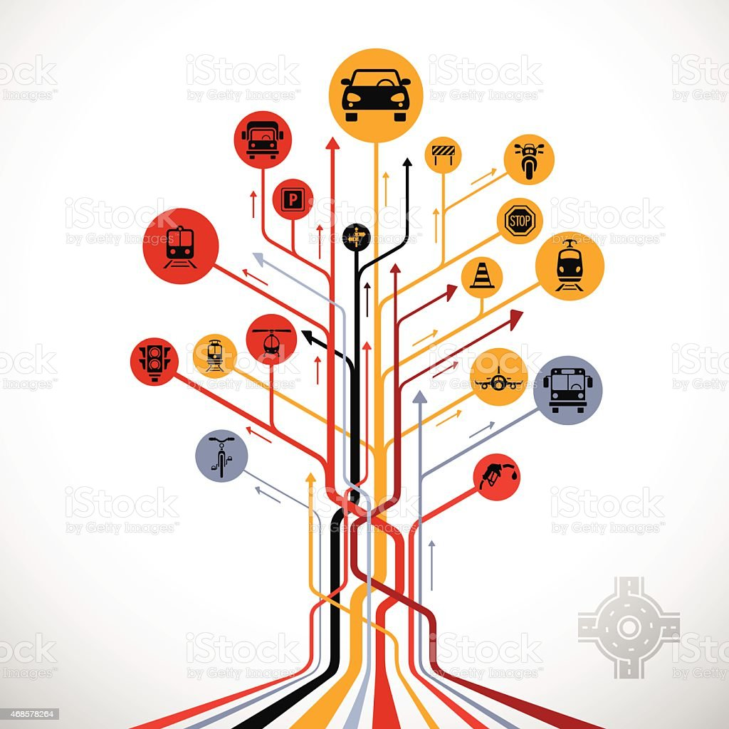 Abstract Traffic Tree vector art illustration