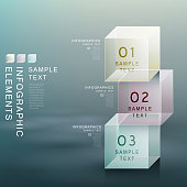 modern vector abstract transparent cube infographic elements