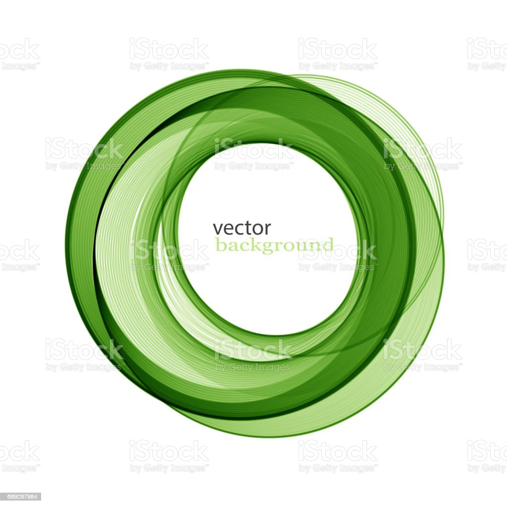 Abstract transparent green swirl circle vector art illustration