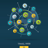 Abstract travel and tourism background. Digital connect system with integrated circles, color flat icons. Vector infographic.
