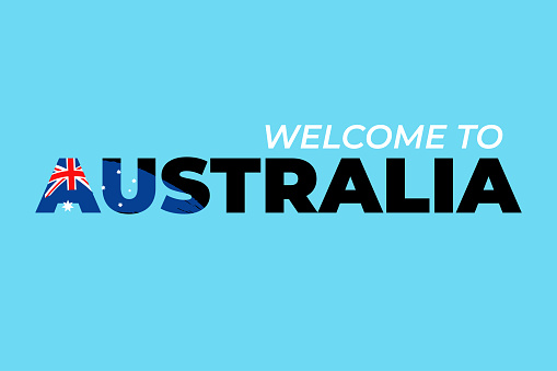 Abstract travel concept for logo, icon, poster, banner, design flag or t-shirt print. Welcome to Australia font with national australian flag stroke on blue background. Vector illustration