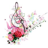 Abstract treble clef decorated with rose flowers and splashes. Hand drawn vector illustration.