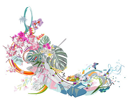 Abstract treble clef decorated with summer and spring flowers, palm leaves, notes, birds.