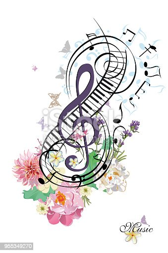 Abstract Treble Clef Decorated With Summer And Spring ...
