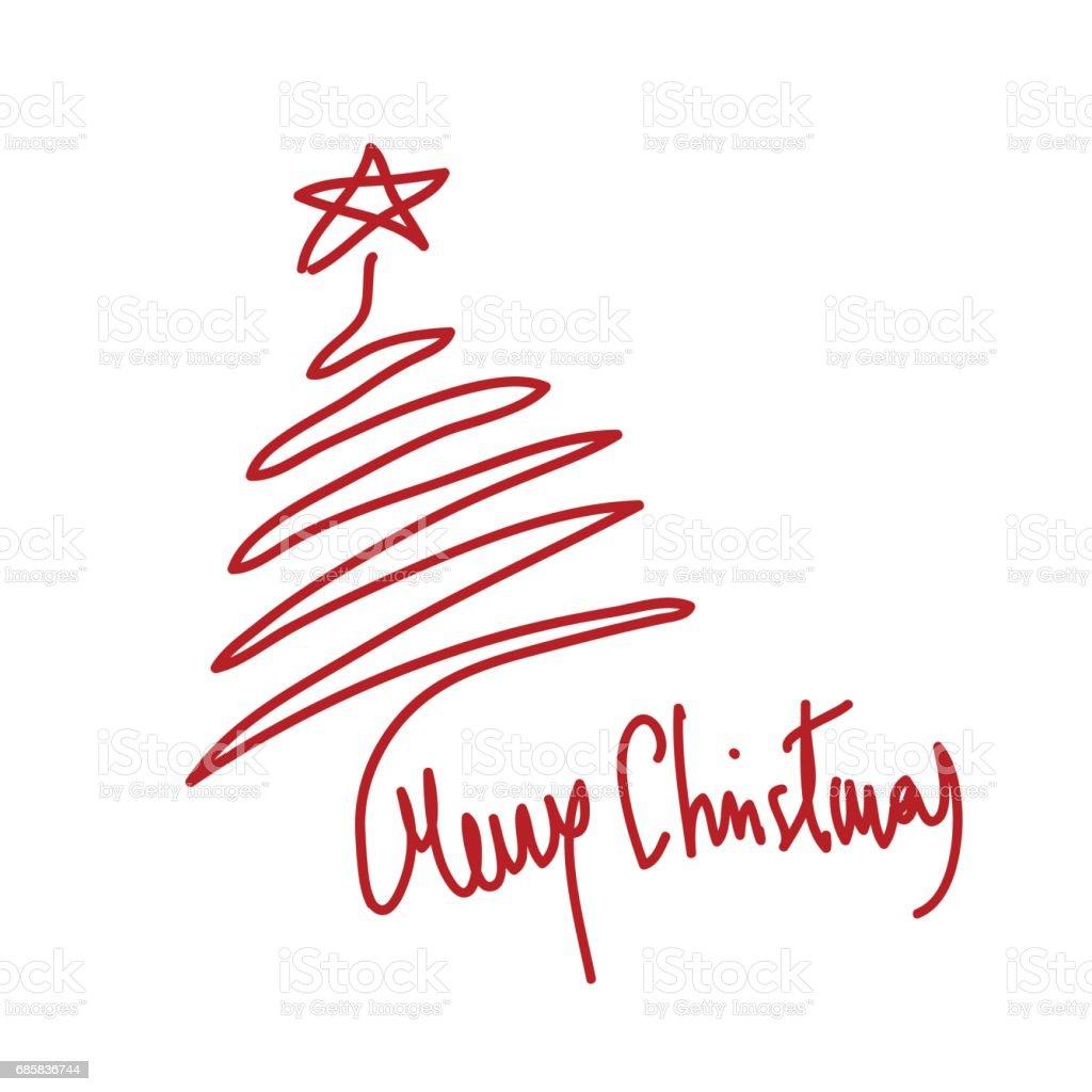 Stern Frohe Weihnachten.Abstrakte Baum Und Stern Gekritzelt Mit Frohe Weihnachten Text Stock Vektor Art Und Mehr Bilder Von Baum