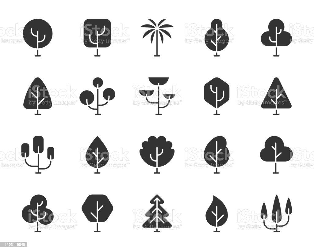 Abstract Tree Black Silhouette Icons Vector Set Stock Vektor