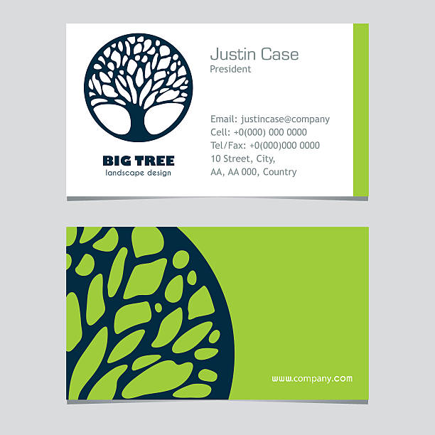 Abstract Tree busibess sign & business card design Abstract Tree sign & business card vector template. Vector icon & corporate identity template for landscape design / architecture, natural organic product line labeling, recycle, garden. Sample text. Editable. garden center stock illustrations