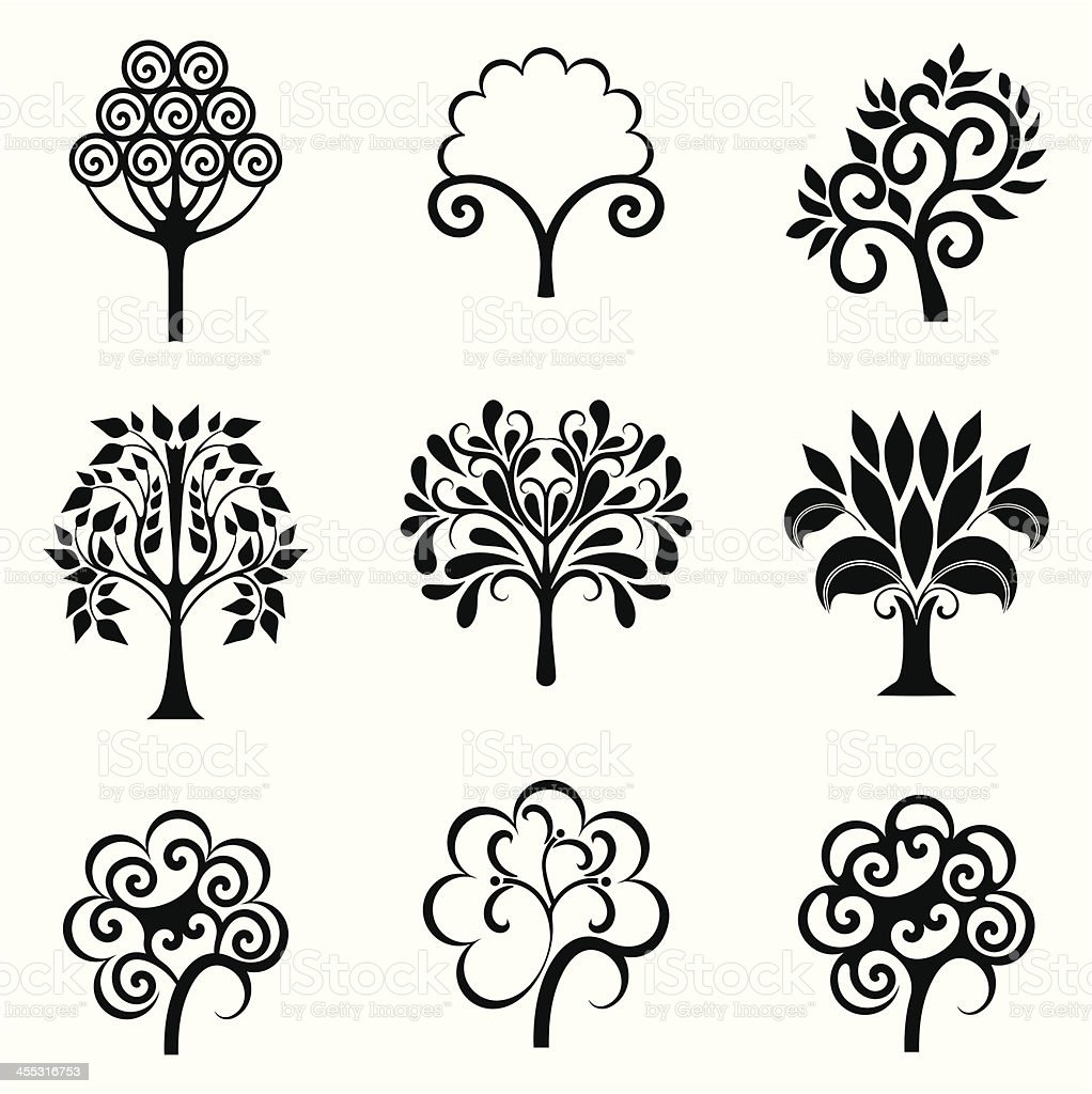 Abstract tree collection royalty-free stock vector art
