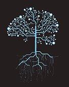 Abstract tree, concept vector futuristic blue virtual graphic