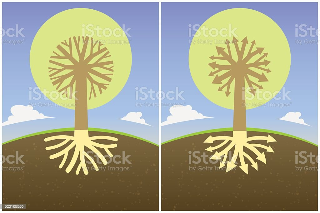 abstract tree diagram branches roots in form of arrows crown vector art illustration