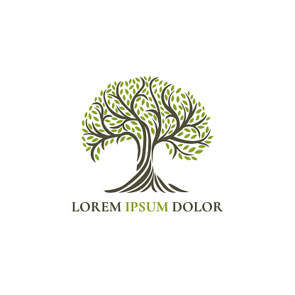 Abstract tree emblem. Modern illustration. Isolated vector. Great for logo, monogram, invitation, flyer, menu, brochure, background, or any desired idea.