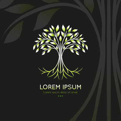 Abstract tree logo on a black background. Modern illustration. Isolated vector. Great for emblem, monogram, invitation, flyer, menu, brochure or any desired idea.