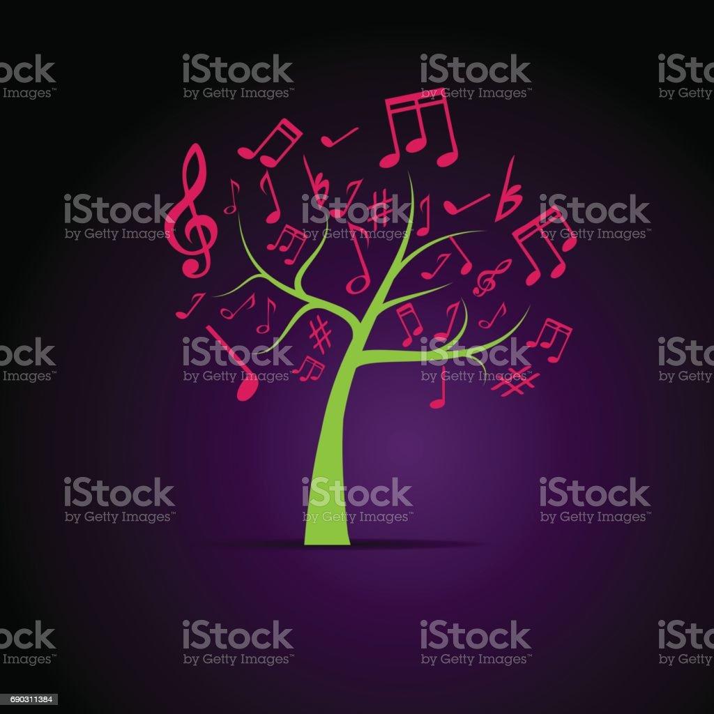 背景は、音楽の抽象ツリー ベクターアートイラスト
