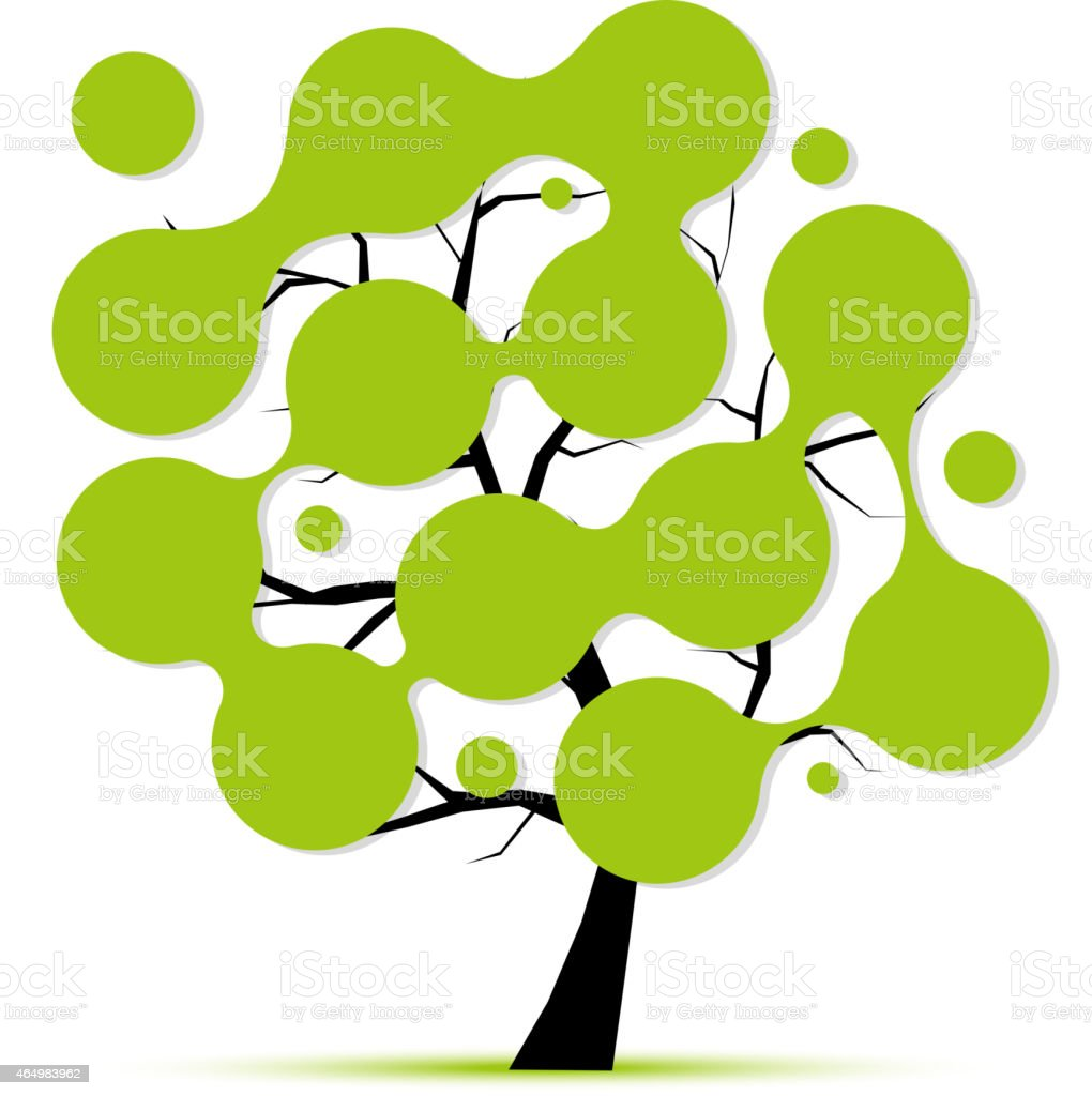 Abstract Tree With Circle Frames For Your Design Stock Vector Art ...