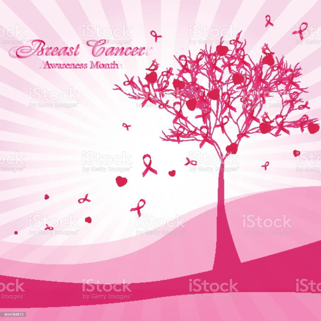 Abstract tree with pink ribbons and hearts vector art illustration