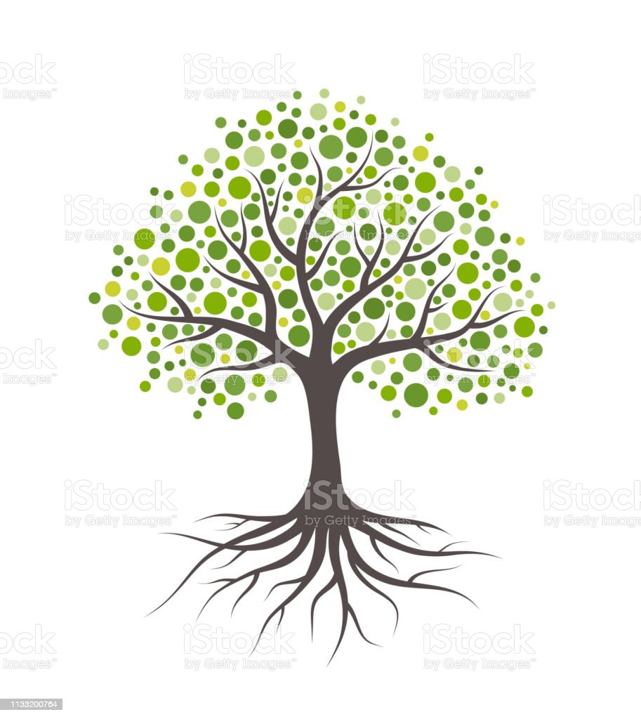 Abstract tree with roots and green round leaves. Isolated on white background. - arte vettoriale royalty-free di Albero