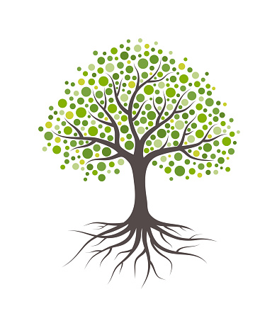 Abstract Tree With Roots And Green Round Leaves Isolated On White Background - Immagini vettoriali stock e altre immagini di Albero