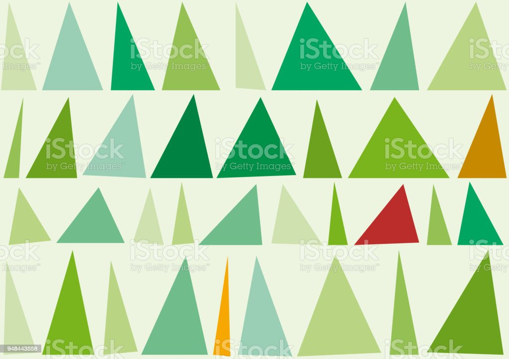 Abstract trees and forest in geometric background, vector illustration with triangles vector art illustration