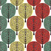 Abstract trees seamless pattern, stylized forest, vintage drawing. Ornate trunks with branches and green, yellow and orange crown foliage on white background. For fabric design. Vector illustration