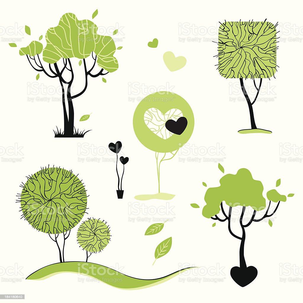 Abstract trees set.  Vector Illustration isolated. royalty-free stock vector art