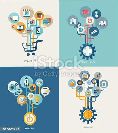 Concept, Tree, Abstract, Commerce, Start Up, Healthcare, Finance, Icon, Symbol
