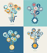 Abstract trees with icons for web design.