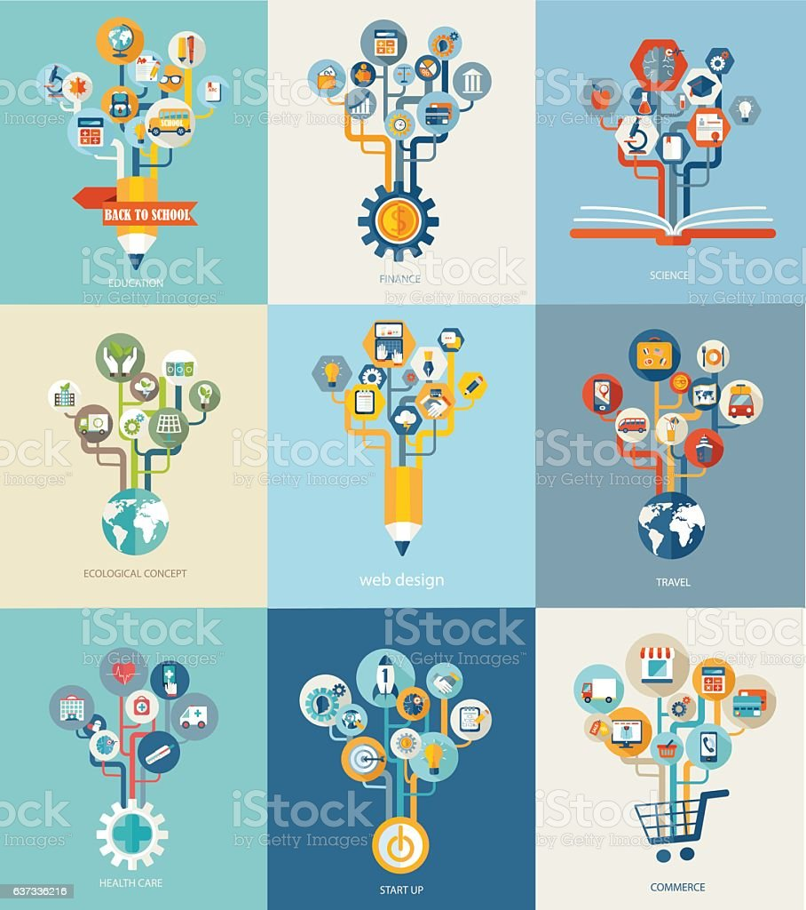 Abstract trees with icons for web design. vector art illustration
